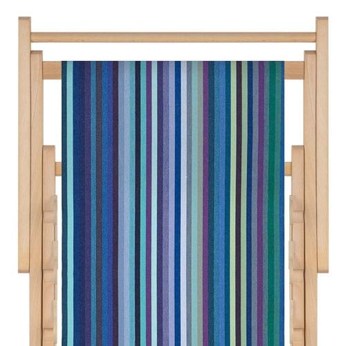 transat en bois, toile en coton petite dani bleu