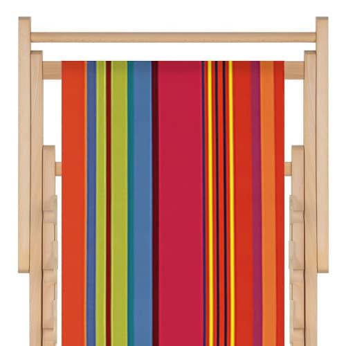 transat en bois, toile en acrylique bonbon plume capucine