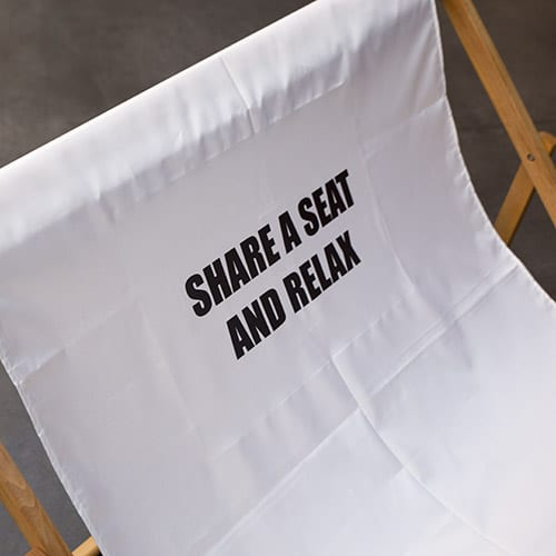 dubbele strandstoel met tekst