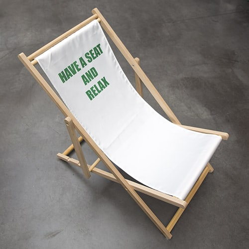 strandstoel tekst opdruk