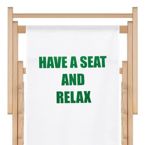 strandstoel met tekst opdruk