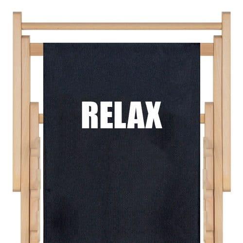 strandstoel zwart met witte tekst